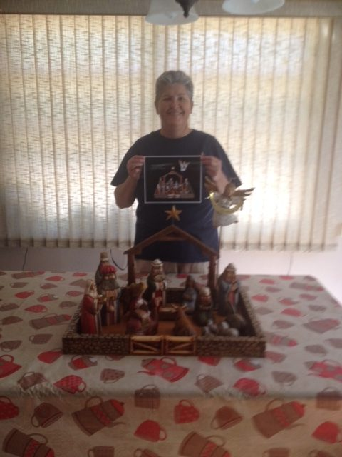 "SUE NORTH WAS THE BIG WINNER OF THE NATIVITY SCENE . ""CONGRATS SUE """